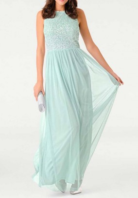 Evening gown with sequins, mint