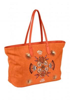 Shopper with sequins, orange