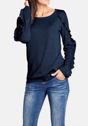 Mėlynas blizgus megztinis