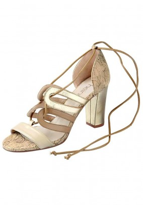 Leather sandal, taupe-gold coloured
