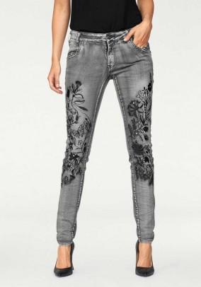 Pilki dekoruoti džinsai