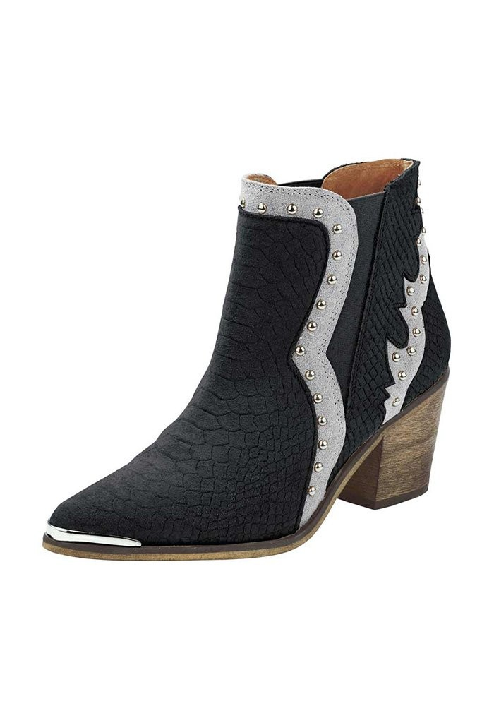 0e7ce2019fe Leather cowboy boots, black-silver coloured