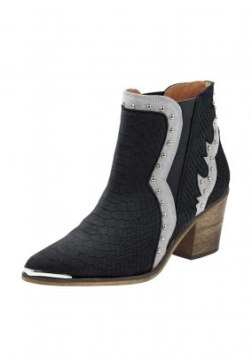 Leather cowboy boots, black-silver coloured