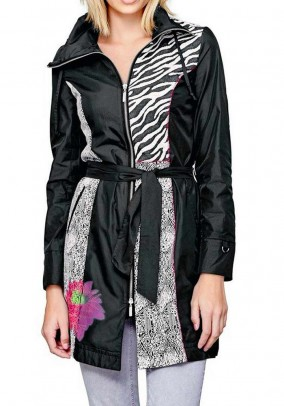 Patch coat, black-offwhite-multicolour