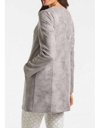 Pilkas odinis ilgas švarkas