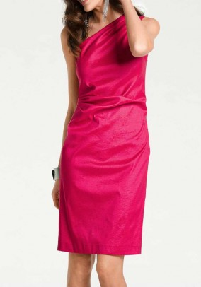 One shoulder dress, pink