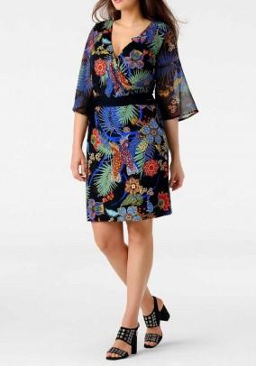 Wrap dress, black-multicolour
