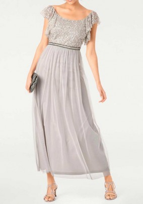 Evening gown, silver grey