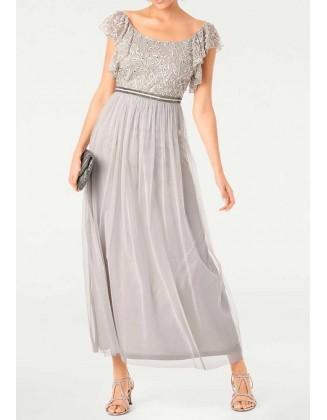 Ilga pilka vakarinė suknelė