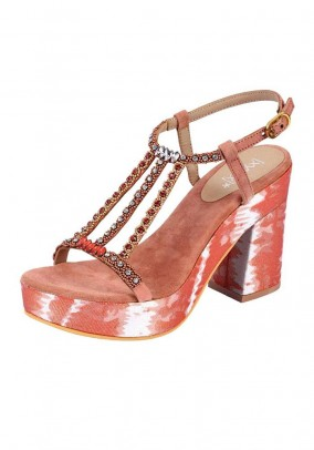 Sandal with strass, coral