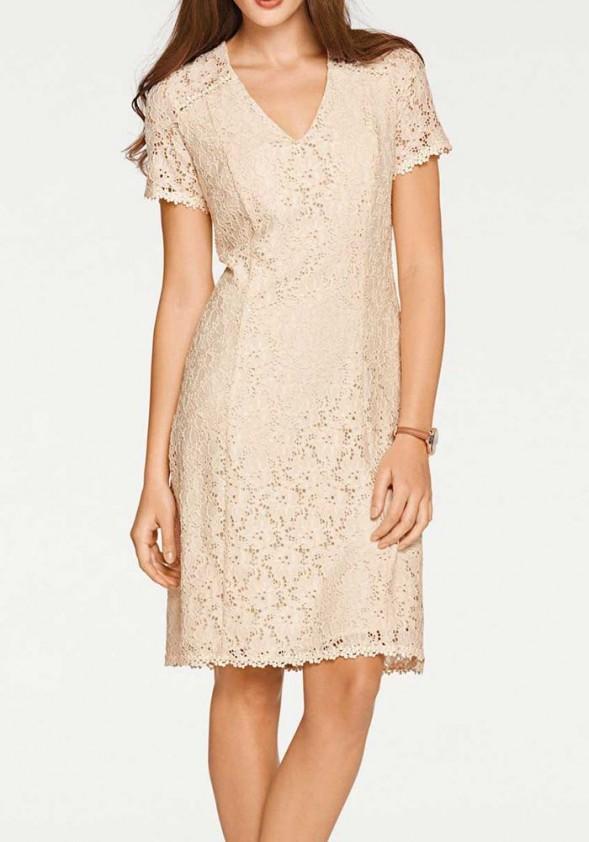Pudros spalvos nėriniuota suknelė
