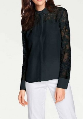 Silk blouse with lace, black
