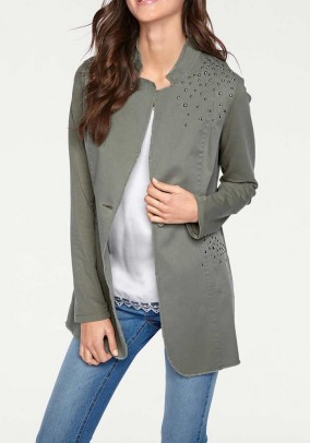 Long blazer with rivets, olive