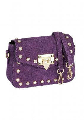 Velour bag with beads, purple