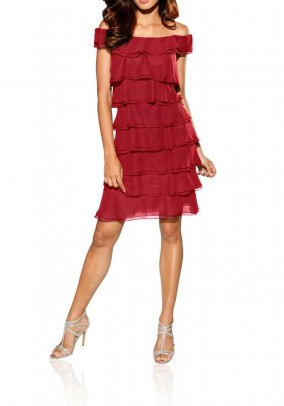 Flounce dress, red