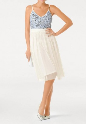 Cocktail dress, cream white - silver