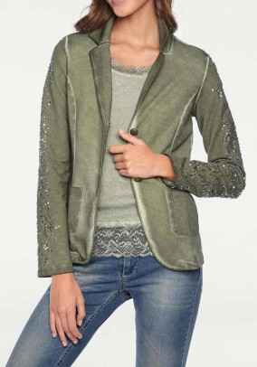 Sweat blazer with sequins, olive