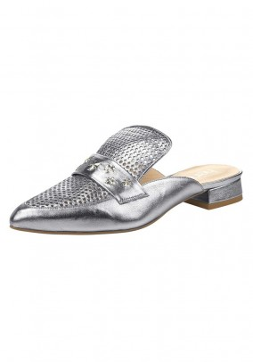 Leather mule, silver coloured