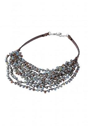 Necklace, grey-blue