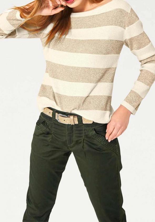 Aukso spalvos dryžuotas megztinis