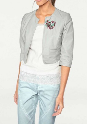 Leather jacket with applications, mint