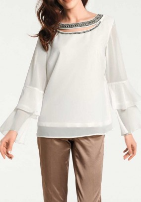 Blouse with strass stones, ecru