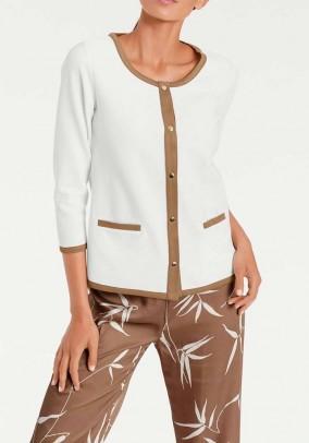Jersey blazer, ecru-camel