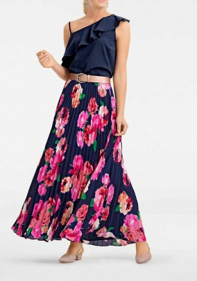 Pleat skirt, blue - multicolour