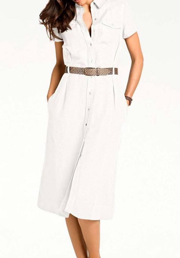 Balta lininė suknelė. Liko 40 dydis