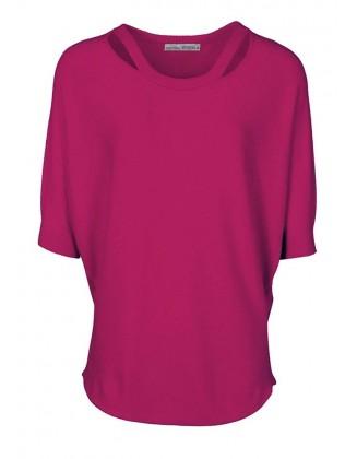 Uogų spalvos megztinis