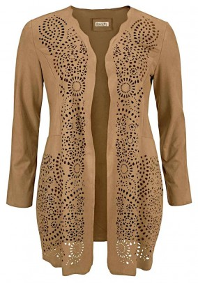 Velours imitation long jacket, camel