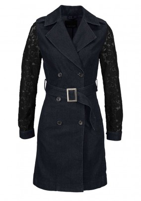 Denim coat with lace, dark blue