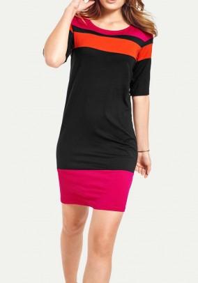 Jersey shirt dress, pink-orange-black