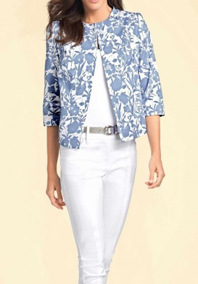 Short blazer, blue-ecru