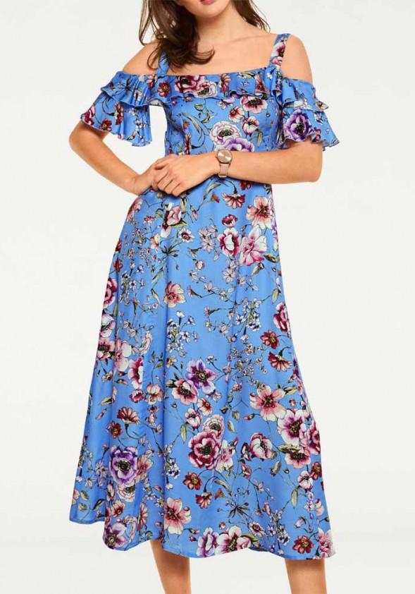 Mėlyna midi ilgio suknelė. Liko 38 dydis