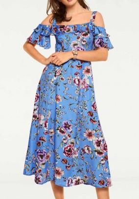 Maxi dress, blue-multicolour