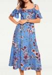 Mėlyna midi ilgio suknelė