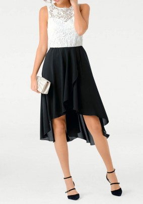 Lace dress, ecru-black