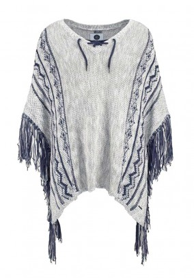 Knit poncho with fringes, grey blend