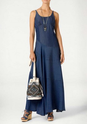 Designer maxi dress, blue denim