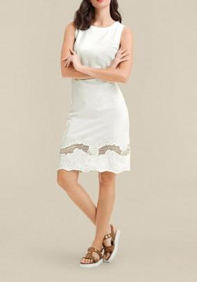 Sheath dress with embroidery, ecru