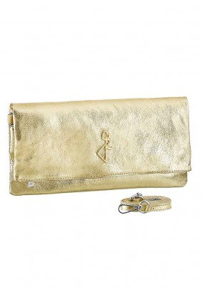 Leather clutch, gold coloured