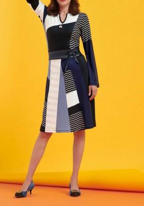 Jersey dress, navy-ecru