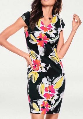Print dress, black-multicolour