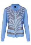 Sweat jacket with strass stones, denim blue