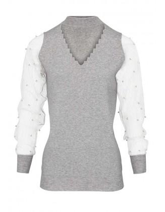 Perlais dekoruotas pilkas megztinis