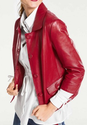 Lamb nappa leather jacket, red