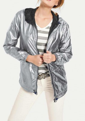 Hooded jacket, silver coloured