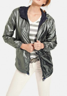 Jacket with hood, reed-green metallic