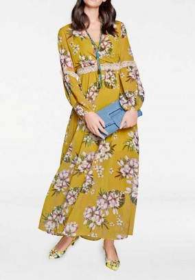 Chiffon maxi dress, yellow-multicolour